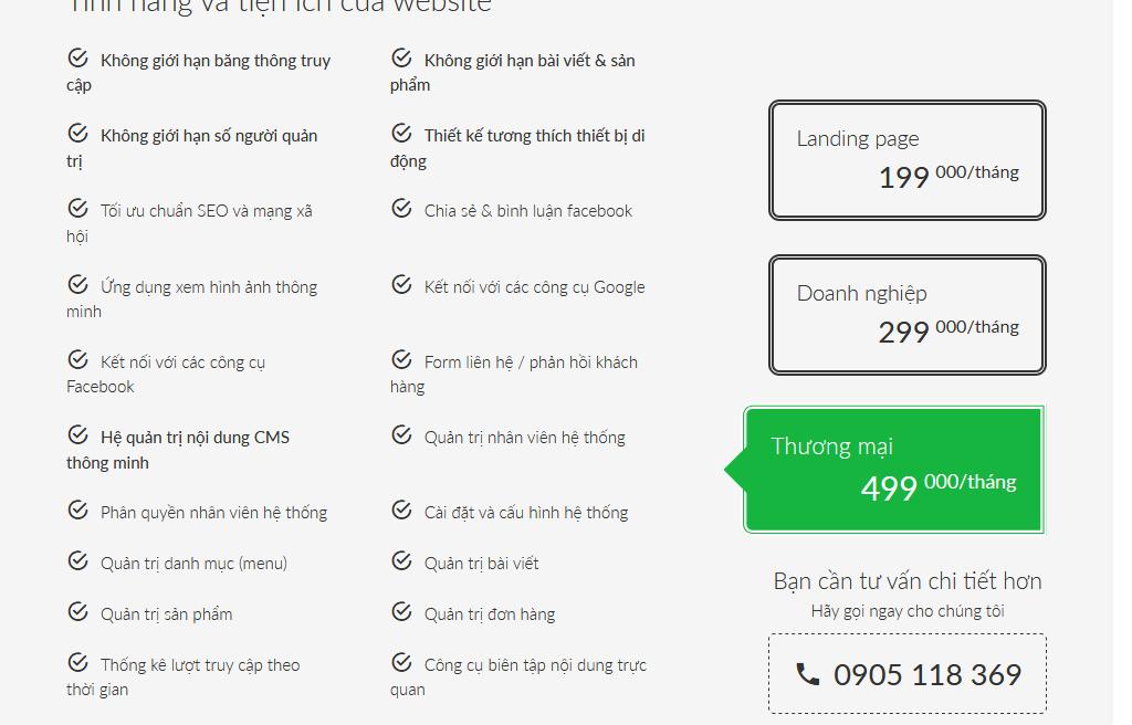 thiết kế web trọn gói giá rẻ tại đà nẵng, bảng giá thiết kế web trọn gói